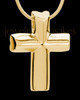 Gold Compact Cross Cremation Urn Pendant