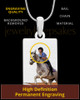 Full Color Rectangle Photo Engraved Pet Pendant Stainless