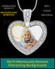 Photo Engraved Gem Heart Full Color Pendant Stainless Steel