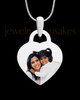Photo Engraved Small Heart Full Color Pendant Stainless Steel