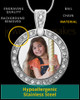 Full Color Photo Engraved Gem Circle Pendant Stainless Steel