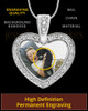 Pet Gem Heart Full Color Photo Engraved Pendant Stainless