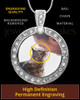 Full Color Gem Circle Photo Engraved Pet Pendant Stainless Steel