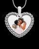 Full Color Silver Framed Heart Photo Engraved Pendant