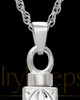 Memorial Pendant Etched Cross - 14k White Gold-Large
