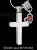 Stainless Cremains Locket Memorable Cross With Birthstone