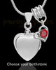 Sterling Silver Gentle Heart With Birthstone Urn Pendant