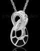 14K White Gold and Onxy Infinity Cremation Necklace