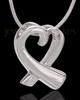 14K White Gold Ribboned Heart Remembrance Urn Pendant