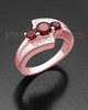 Ladies 14K Rose Gold Radiant Red Cremation Ring
