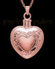 Cremation Remains Jewelry Etched Double 14k Rose Gold Heart