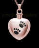 Pet Urn Jewelry 14K Rose Gold Paws on Heart Keepsake