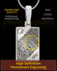Silver Birthstone Rectangle Thumbprint Pendant