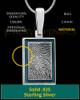 Persian Blue Framed Rectangle Sterling Silver Thumbprint Pendant