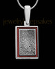 Blush Red Framed Rectangle Sterling Silver Thumbprint Pendant