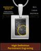 Sterling Silver-framed Black Plated Thumbprint Pendant