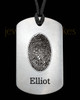 Brushed Stainless Steel Thumbprint Dog Tag Pendant