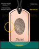 Copper Dog Tag Thumbprint Pendant