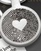 Round My Love Stainless Steel Thumbprint Keychain