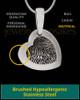 Heart Brushed Stainless Thumbprint Pendant