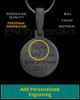 Black Plated Round Thumbprint Pendant