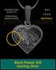 Thumbprint Heart Black Plated Pendant