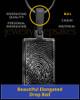 Black Plated Thumbprint Rectangle Pendant