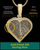 Gold Plated Two-print Heart Sterling Silver Thumbprint Pendant