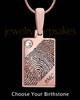 Birthstone Rose Gold Plated Rectangle Thumbprint Pendant
