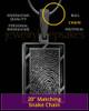 Thumbprint Framed Rectangle Black Plated Pendant
