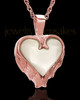 Remembrance Pendant 14k Rose Gold Winged Heart Keepsake