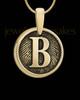Raised Initial Gold Plated Round Sterling Silver Thumbprint Pendant