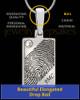 Solid 14k White Gold Birthstone Rectangle Thumbprint Pendant
