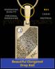 Solid 14k Gold Birthstone Rectangle Thumbprint Pendant