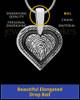 Solid 14k White Gold Bounded Heart Thumbprint Pendant