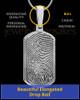 Solid 14k White Gold Dog Tag Thumbprint Pendant