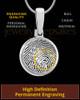 Solid 14k White Gold Round Thumbprint Pendant