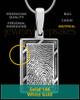 Solid 14k White Gold Framed Rectangle Thumbprint Pendant