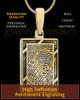 Solid 14k Gold Framed Rectangle Thumbprint Pendant