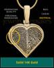 Solid 14k Gold Two-print Heart Thumbprint Pendant