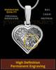 Solid 14k White Gold Heart Thumbprint Pendant
