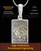 Solid 14k White Gold Rectangle Thumbprint Pendant