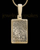 Solid 14k Gold Rectangle Thumbprint Pendant