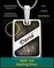 Sterling Silver Name Rectangle Thumbprint Pendant