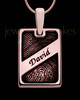 Rose Gold Plated Sterling Name Rectangle Thumbprint Pendant
