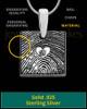 Sterling Silver Tender Heart Square Thumbprint Pendant