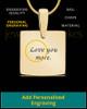 Gold Plated Sterling Tender Heart Square Thumbprint Pendant