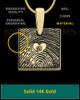 Solid 14k Gold Tender Heart Square Thumbprint Pendant