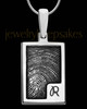 Sterling Silver Initial Rectangle Thumbprint Pendant