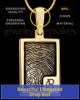 Solid 14k Gold Initial Rectangle Thumbprint Pendant